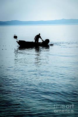 Dalmatian Coast Fisherman Silhouette, Croatia Poster