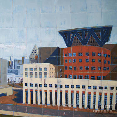 Poster featuring the painting Dam Public Library by Erin Fickert-Rowland