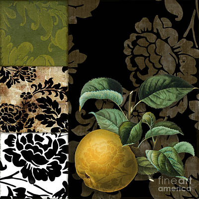 Damask Lerain Pear Poster by Mindy Sommers