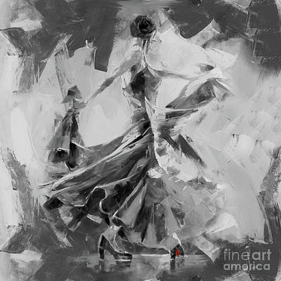 Poster featuring the painting Dance Flamenco 01 by Gull G