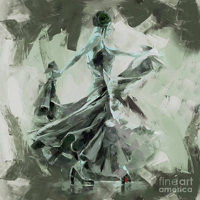 Poster featuring the painting Dance Flamenco Art  by Gull G