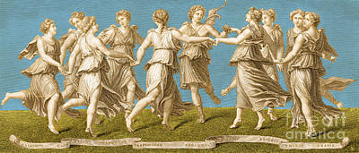 Dance Of Apollo With The Nine Muses Poster