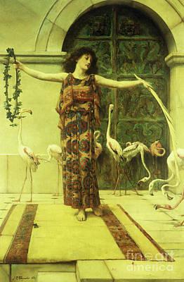 Dance Of The Flamingos Poster by John Reinhard Weguelin