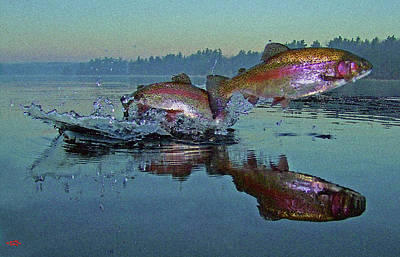 Dance Of The Trout Poster by Brian Pelkey