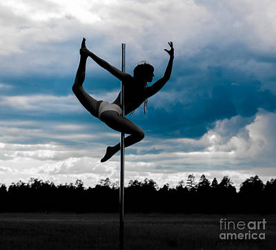 Dancer On A Pole In Storm Poster by Scott Sawyer