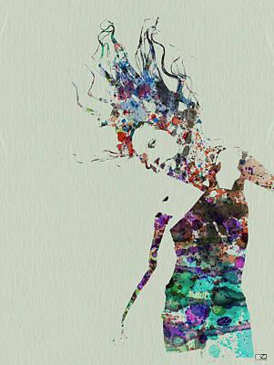 Dancer Watercolor Splash Poster by Naxart Studio