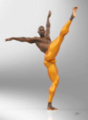 Dancer With Orange Leotards Poster by Joaquin Abella