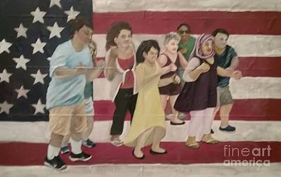 Poster featuring the painting Dancing Americans by Saundra Johnson