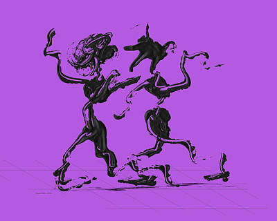Dancing Couple 1 - Purple Poster by Manuel Sueess