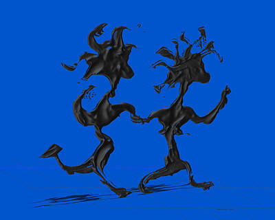 Dancing Couple 7 - Blue Poster by Manuel Sueess