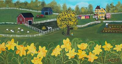Dancing Daffodils Poster by Virginia Coyle