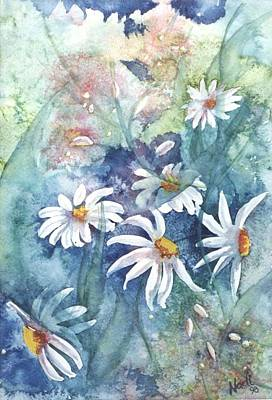 Poster featuring the painting Dancing Daisies by Renate Nadi Wesley