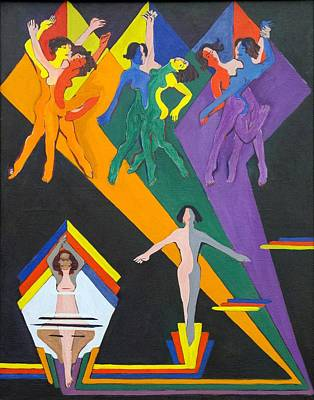 Dancing Girls In Rays Of Color Poster by Ernst Ludwig Kirchner