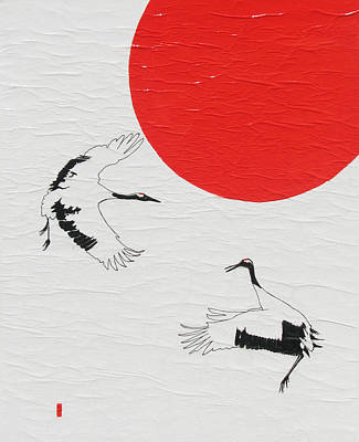 Dancing Japanese Cranes Poster by Stephanie Grant