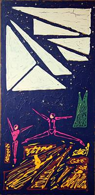 Poster featuring the mixed media Dancing Under The Starry Skies by J R Seymour