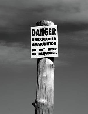 Danger In Black And White Poster by Barbara McMahon