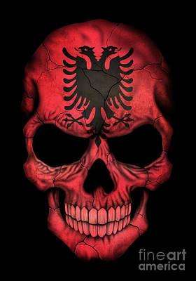 Dark Albanian Flag Skull Poster