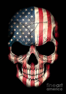 Dark American Flag Skull Poster by Jeff Bartels