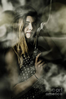Dark Artwork Of A Female Soldier In Pistol Smoke Poster by Jorgo Photography - Wall Art Gallery