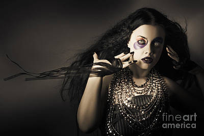 Dark Beauty Woman. Rich Jewellery And Black Nails Poster