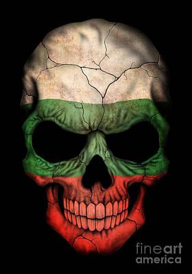 Dark Bulgarian Flag Skull Poster by Jeff Bartels