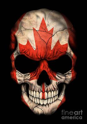 Dark Canadian Flag Skull Poster