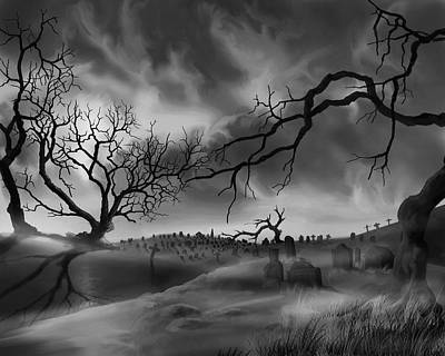 Poster featuring the painting Dark Cemetary by James Christopher Hill