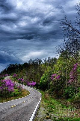 Poster featuring the photograph Dark Clouds Over Redbud Highway by Thomas R Fletcher