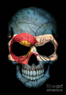 Dark Colorado Flag Skull Poster by Jeff Bartels
