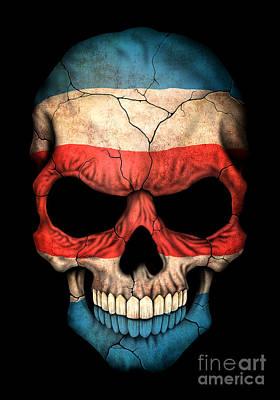 Dark Costa Rican Flag Skull Poster
