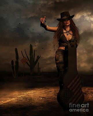 Poster featuring the digital art Dark Desert Highway by Shanina Conway