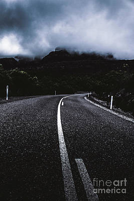 Dark Dramatic Blue Road Through Sinister Mountains Poster