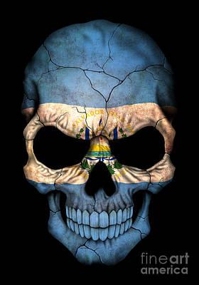 Dark El Salvador Flag Skull Poster by Jeff Bartels