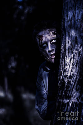 Dark Evil Zombie Watching From Horror Forest Poster by Jorgo Photography - Wall Art Gallery