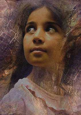 Poster featuring the digital art Dark Eyed Beauty by Kate Word