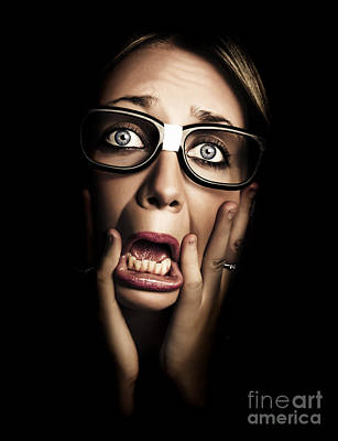 Dark Face Of Business Woman Under Stress And Fear Poster by Jorgo Photography - Wall Art Gallery