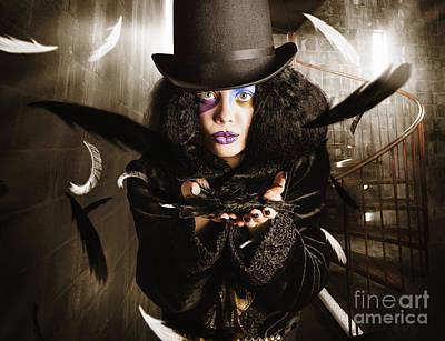 Dark Fashion Girl Making Magic And Mystery Wish Poster