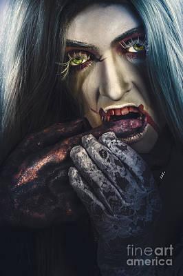 Dark Halloween Horror Portrait. Creepy Vampire Poster by Jorgo Photography - Wall Art Gallery