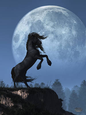 Poster featuring the digital art Dark Horse And Full Moon by Daniel Eskridge