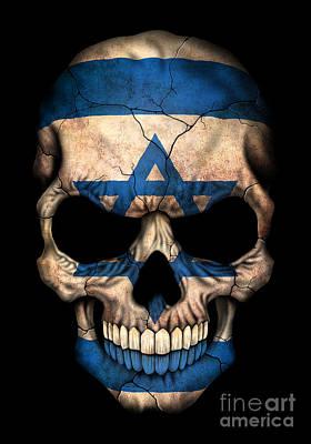Dark Israeli Flag Skull Poster