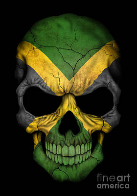 Dark Jamaican Flag Skull Poster by Jeff Bartels