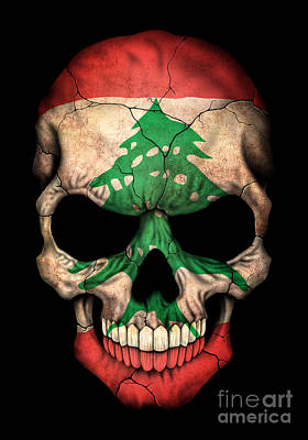 Dark Lebanese Flag Skull Poster by Jeff Bartels