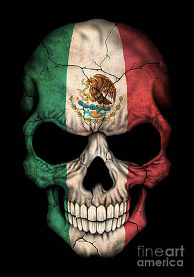 Dark Mexican Flag Skull Poster by Jeff Bartels