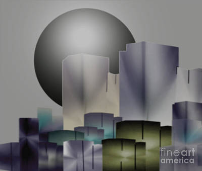 Poster featuring the digital art Dark Moon Over The City by John Krakora