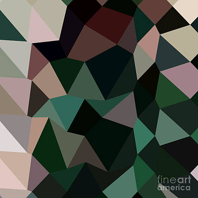 Dark Moss Green Abstract Low Polygon Background Poster by Aloysius Patrimonio