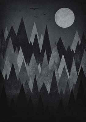 Dark Mystery Abstract Geometric Triangle Peak Woods Black And White Poster