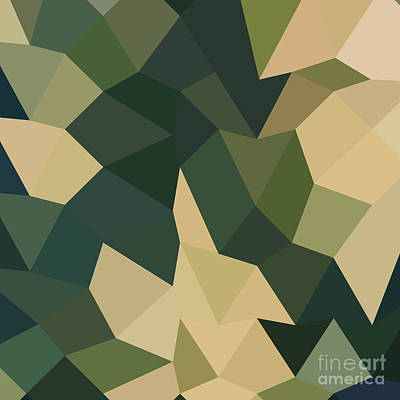 Dark Olive Green Abstract Low Polygon Background Poster by Aloysius Patrimonio