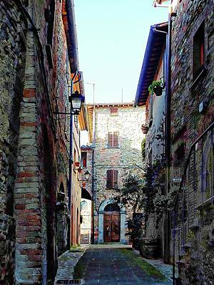 Dark Passageway In Panicale Poster by Dorothy Berry-Lound