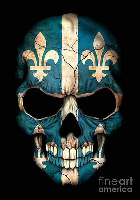 Dark Quebec Flag Skull Poster by Jeff Bartels