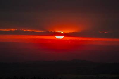 Dark Red Sun In Vogelsberg Poster
